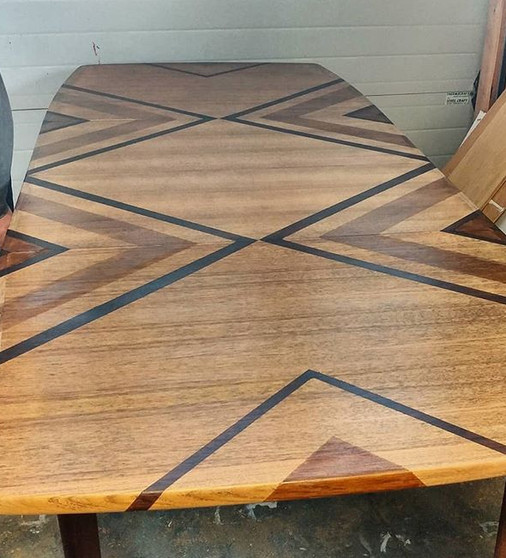 Teak Dining Table with Tribal Design
