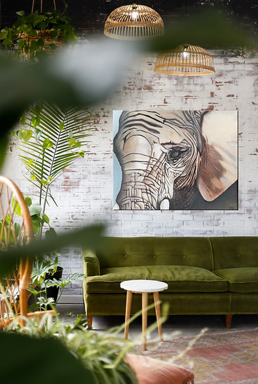 Elephant on Mounted Canvas