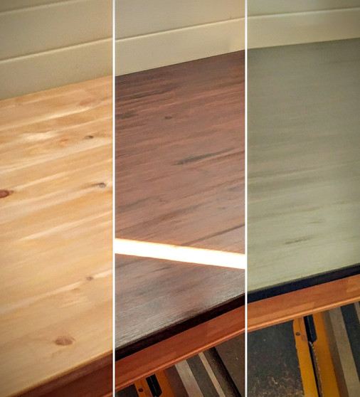 Three layers of stain