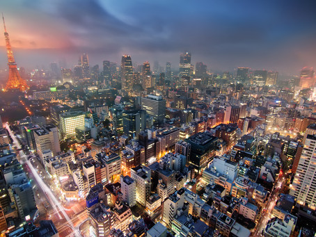 Tokyo Cityscape In Twilight Blue
