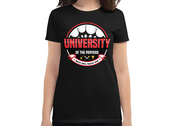 University of the Panyard Women's short sleeve t-shirt (Red/White Logo)