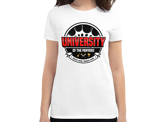 University of the Panyard Women's short sleeve t-shirt (Black/Red Logo)
