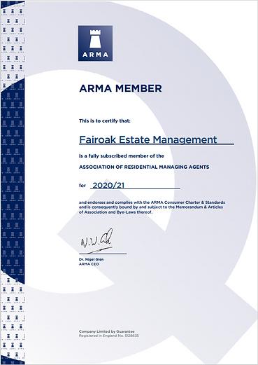 ARMA Membership 2021 - Fairoak Estate Ma