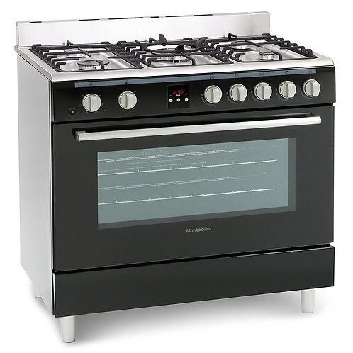 MONTPELLIER NEW STAINLESS STEEL & BLACK DUAL FUEL RANGE COOKER