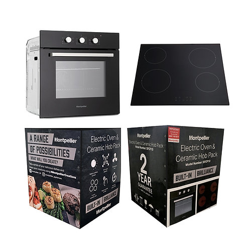 MONTPELLIER NEW ELECTRIC SINGLE BUILT-IN FAN OVEN + CERAMIC HOB PACK