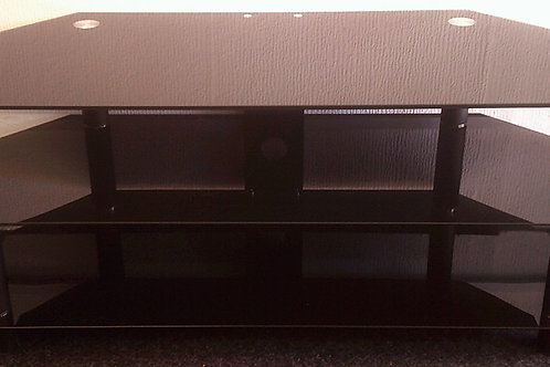 USED BLACK GLASS TELEVISION STAND UNIT