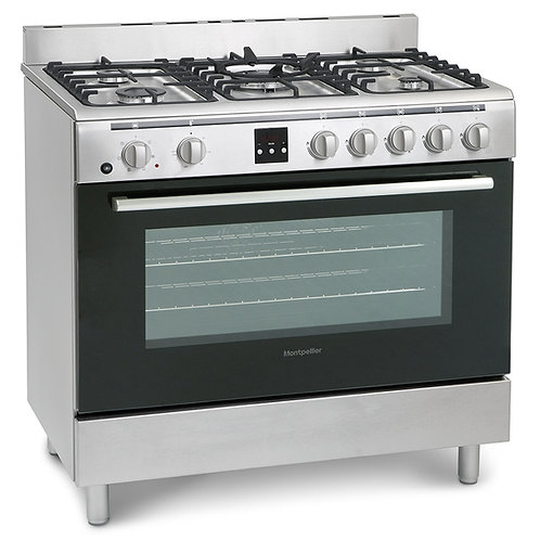 MONTPELLIER NEW STAINLESS STEEL DUAL FUEL RANGE COOKER