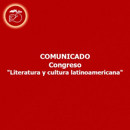 """Comunicado - Congreso """"Literatura y cultura latinoamericana"""""""