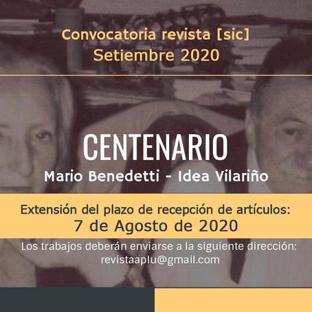 Convocatoria revista [sic] Mario Benedetti  -  Idea  Vilariño. Nueva fecha de envío: 7  de agosto