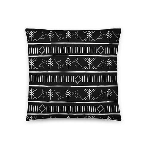 """Pine Stripe 18""""x18"""" Throw Pillow (Black)"""