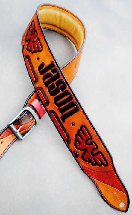 Waylon Jennings tribute custom strap.  Features Waylon's Flying W logo