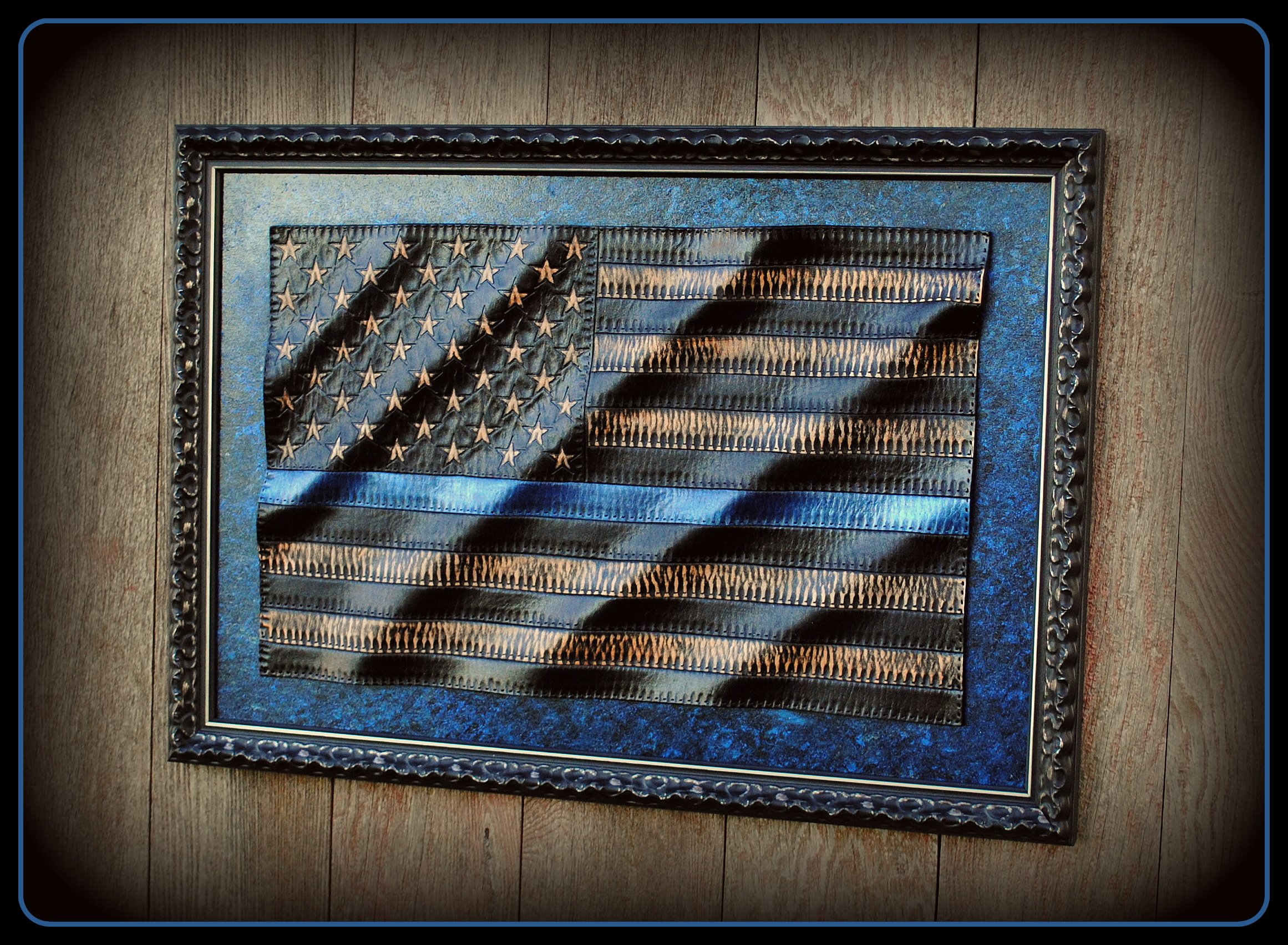 Thin Blue Line-Leather American Flag