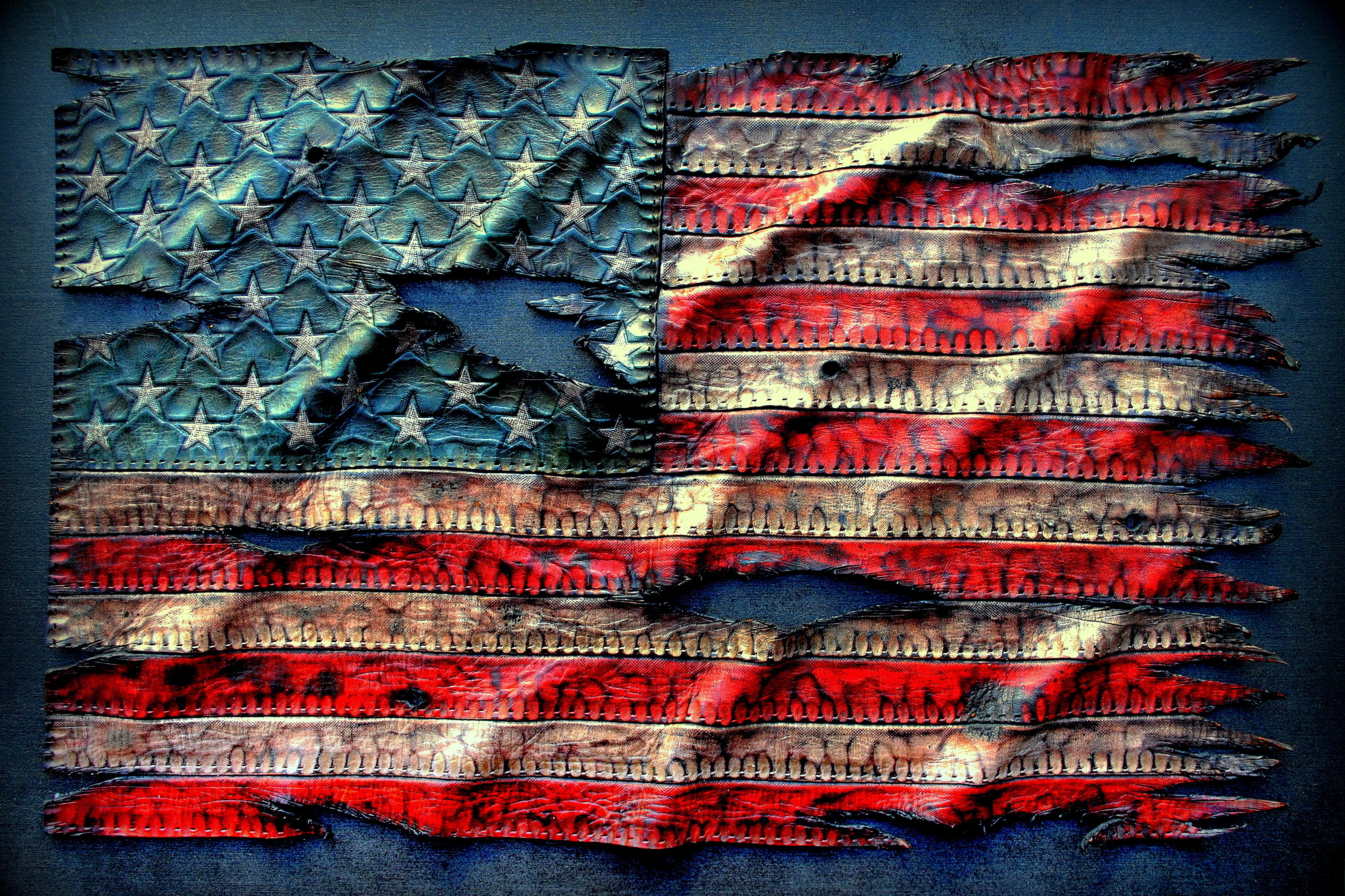 Ragged Leather American Flag