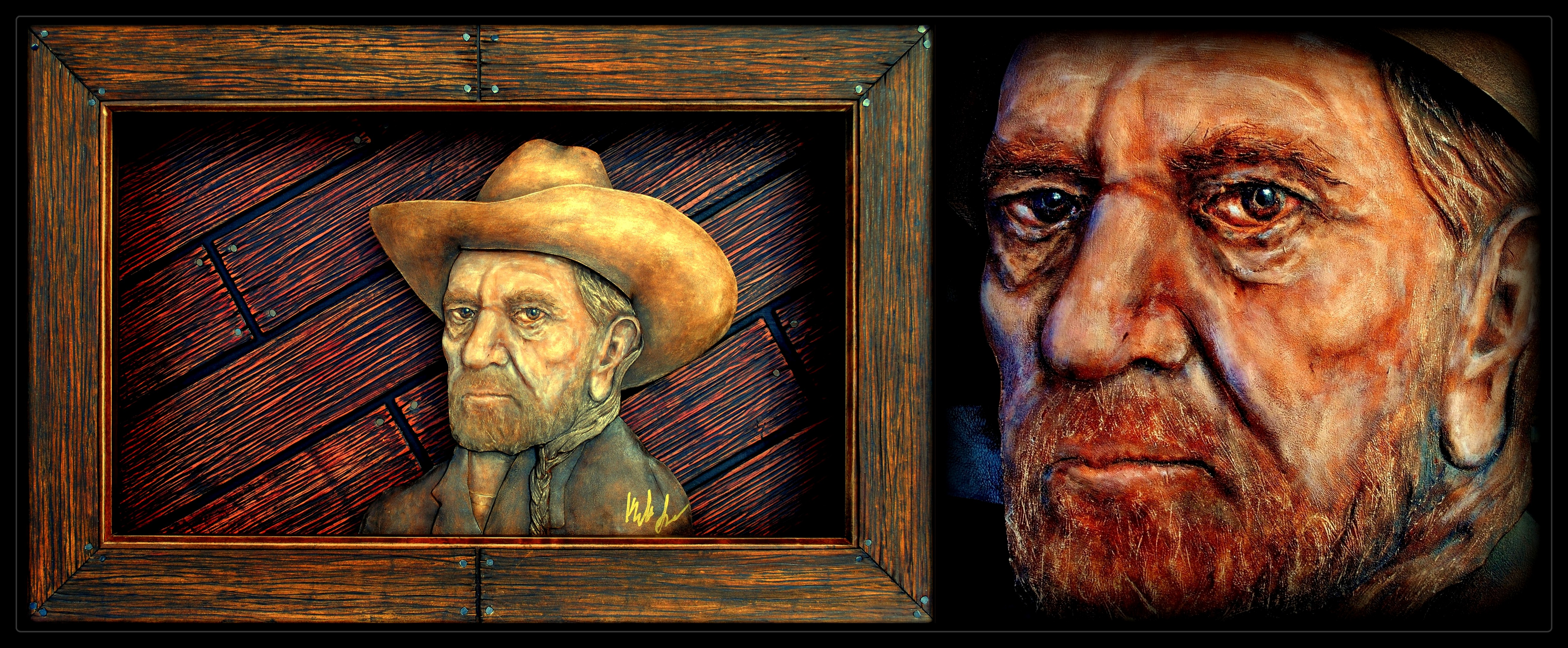 Willie Nelson Leather 3-D Portrait