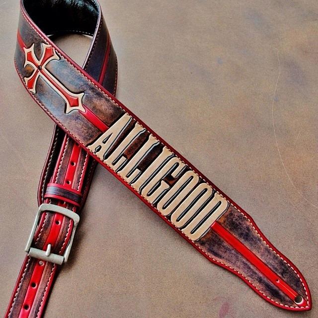 Nick Alligood hand aged guitar strap