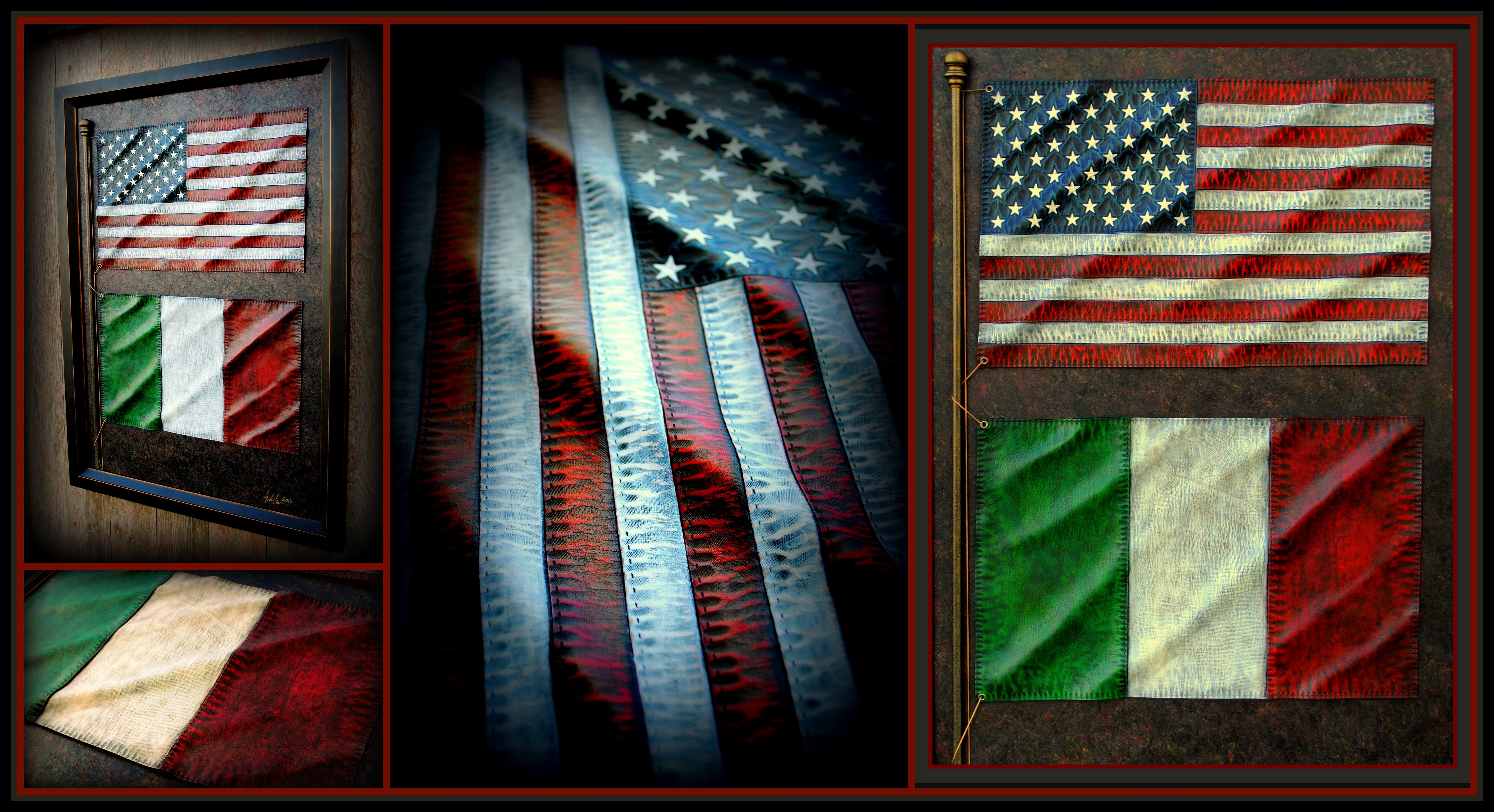 American and Itallian Leather Flags