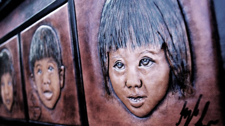 Child portrait- leather art