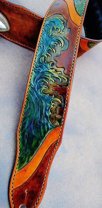 Custom tidal wave guitar strap!