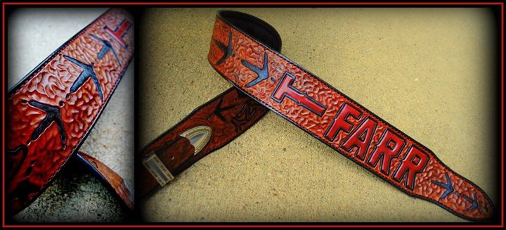 Country music star Tyler Farr's custom guitar strap