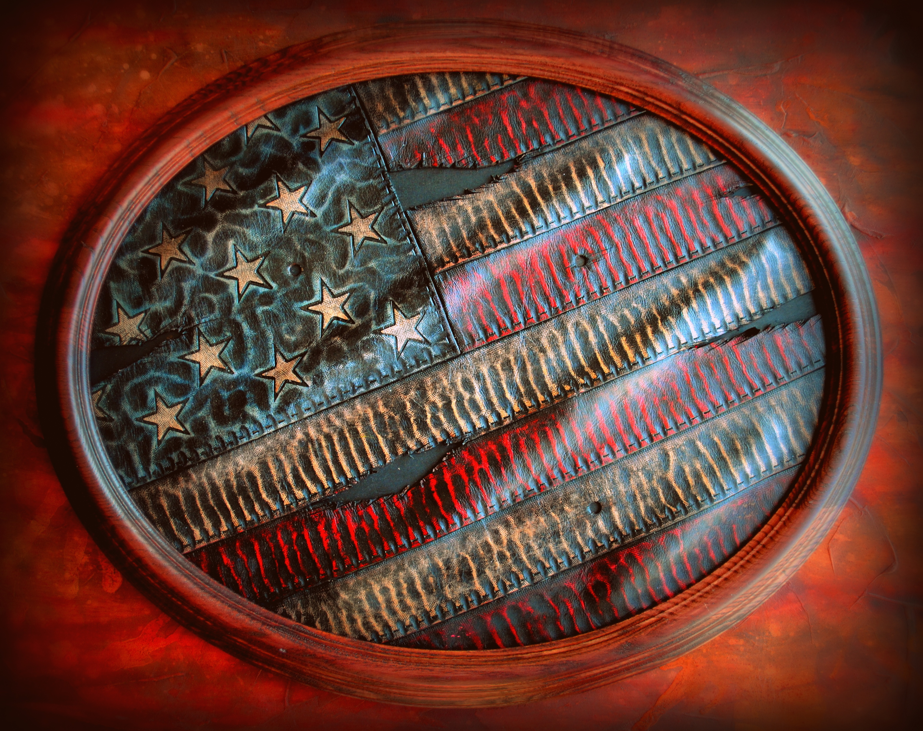 Oval Tattered American Flag