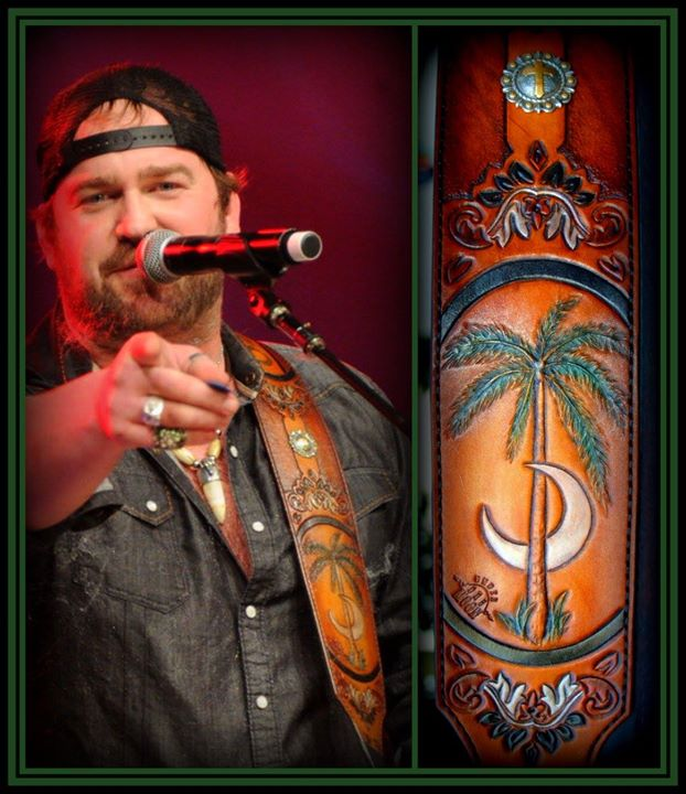 Country music star Lee Brice's second custom guitar strap