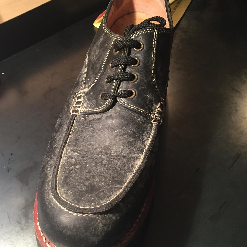 靴磨き カビ除去Before