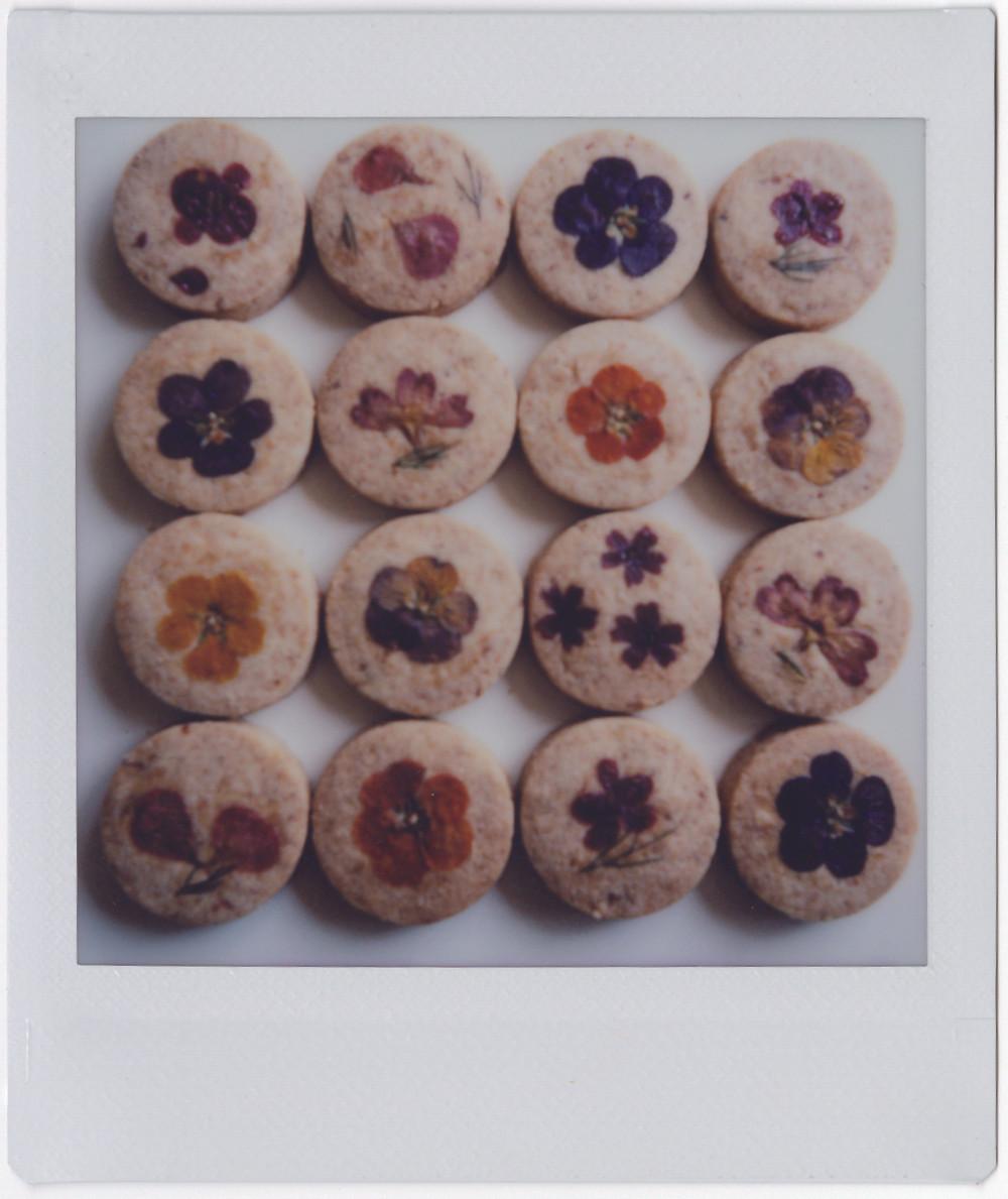 עוגיות עגולות עם דוגמאות מצולמות בתמונת פולרויד