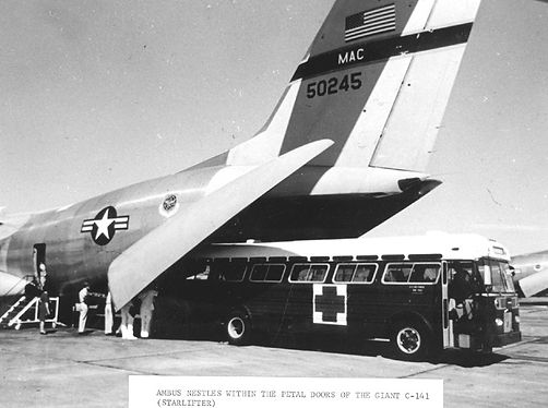 AMBUS Nestles Within the Petal Doors of the Giant C-141 (Starlifter)