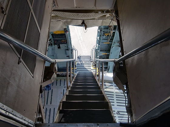 View from the flight deck of C-5A, all the way down to the ramp.