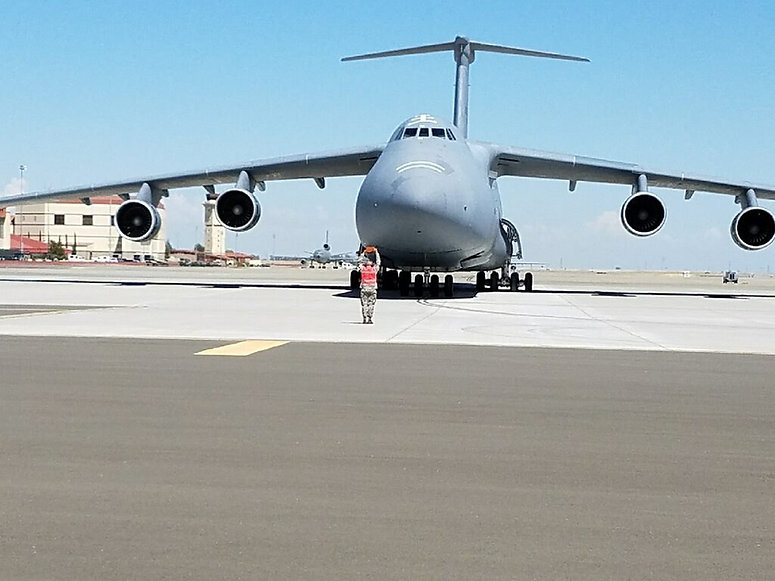 The Heritage Center's C-5A Galaxy is here - blocked in after its final flight from Westover.