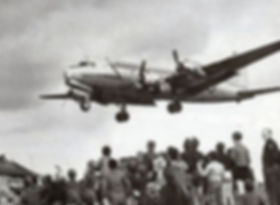 "Lt. Halvorsen dropping candy during the ""Berlin Airlift."""