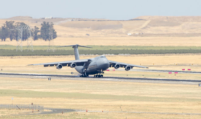 "C-5A ""Galaxy"" lands at Travis Air Force Base"