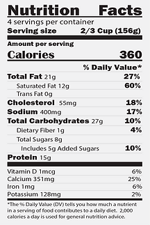 Nutrition Facts -  Rosie's Baked Macaroni & Cheese
