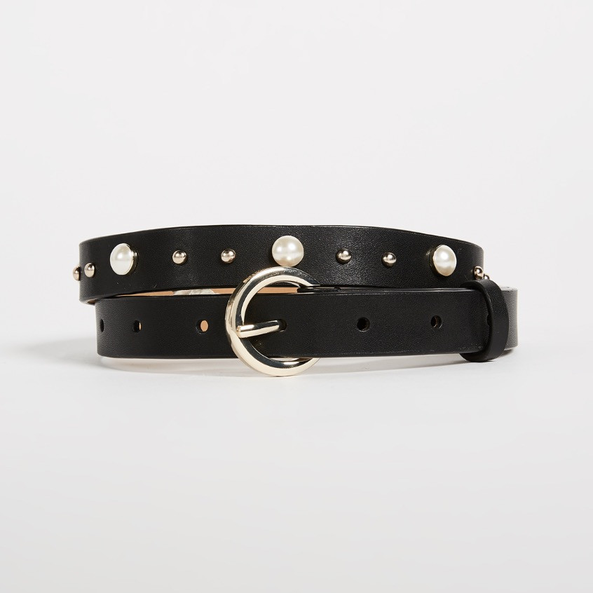 Rebecca Minkoff Coco Smooth Imitation Pearl and Stud Belt