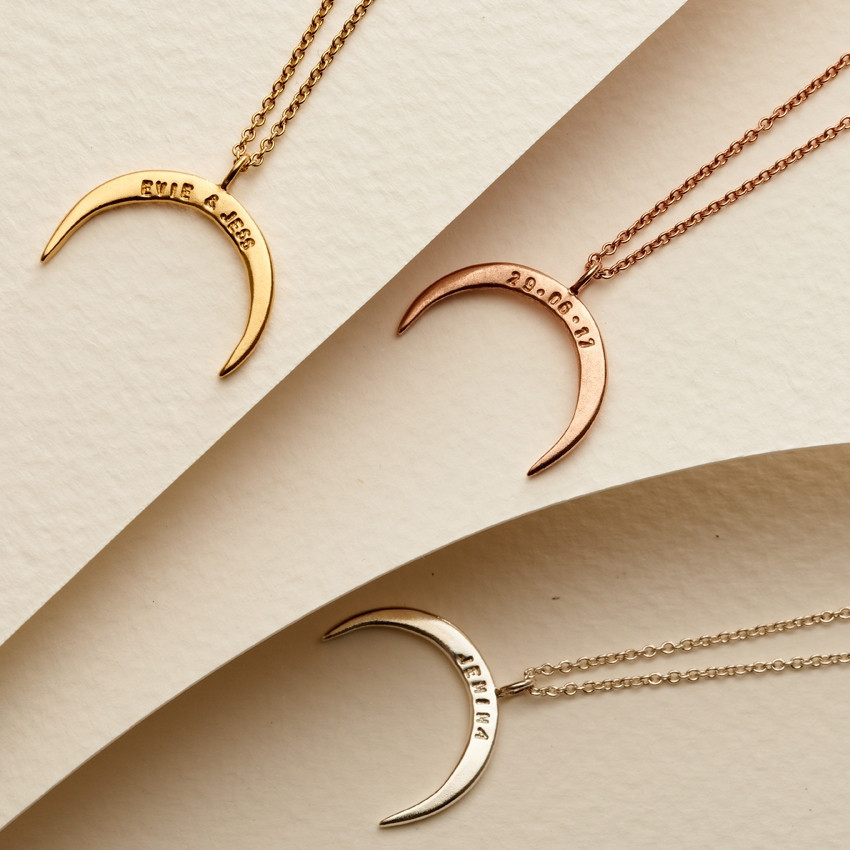 Posh Totty Designs Personalised Crescent Horn Necklace