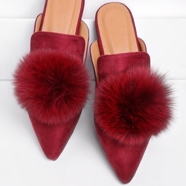 Shein Pom Pom Decorated Pointed Toe Slippers