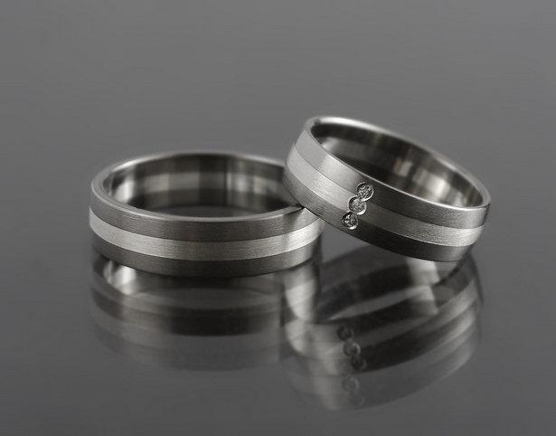 Obrączki tytanowo-srebrne TS19