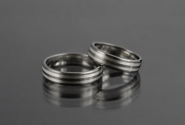 Obrączki tytanowo-srebrne TS09