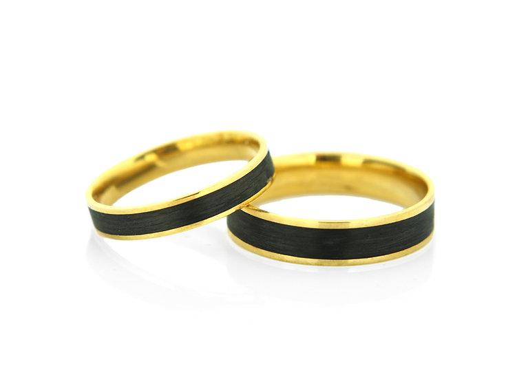 Obrączki złote z  carbonem
