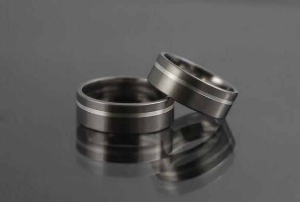 Obrączki tytanowo-srebrne ts02