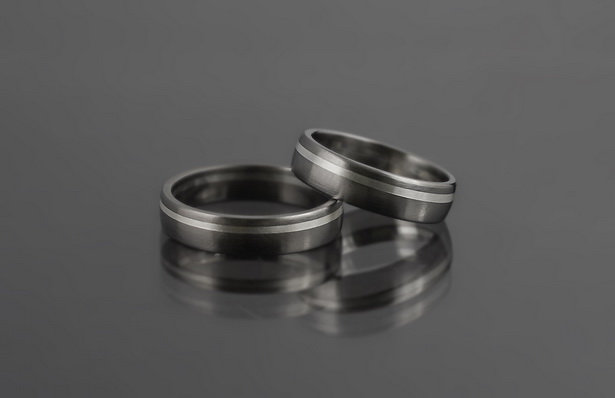 Obrączki tytanowo-srebrne ts06