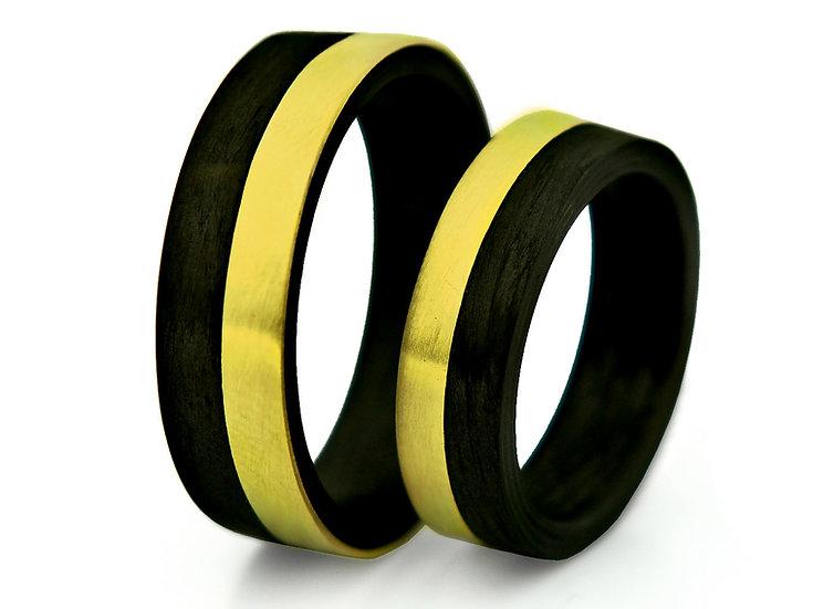 Obrączki złote z carbonem kz 02