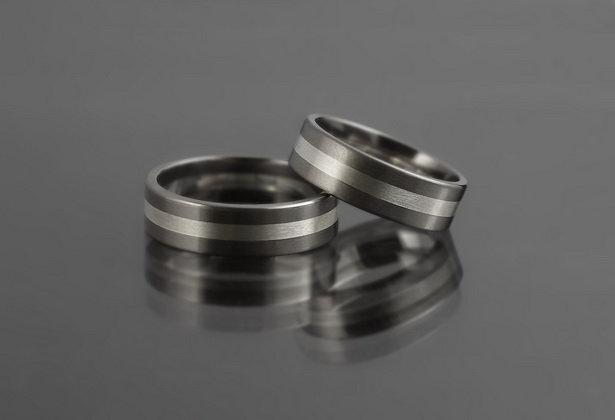 Obrączki tytanowo-srebrne ts03