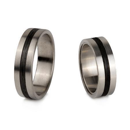 Obrączki tytan- carbon, 6 mm