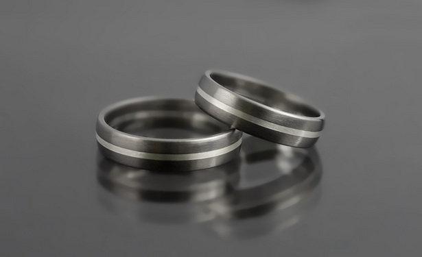 Obrączki tytanowo-srebrne ts01