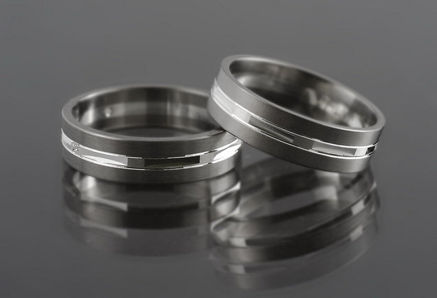 Obrączki tytanowo-srebrne TS13