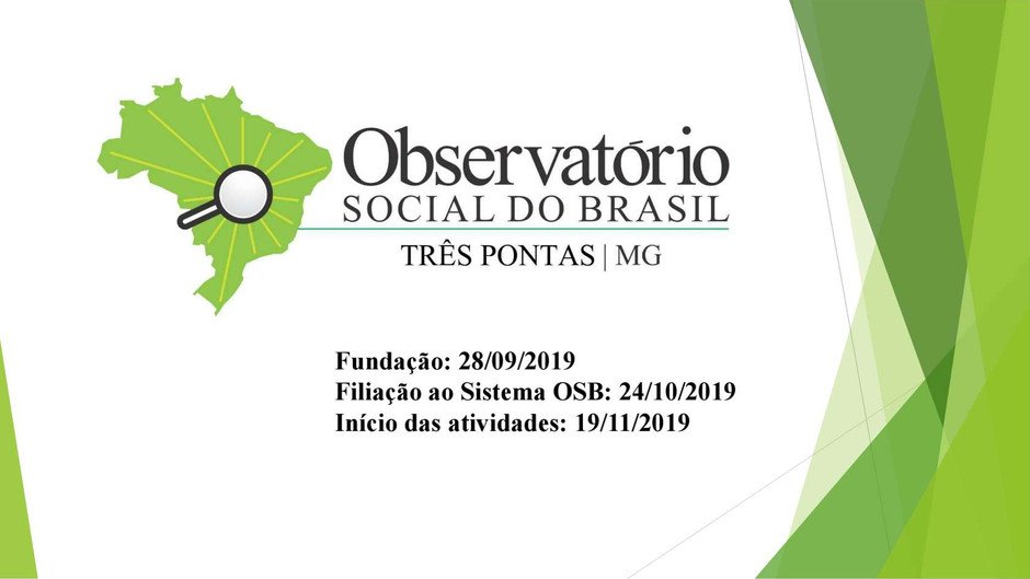 Apresentação -  Relatório Quadrimestral - Observatório Social do Brasil - Três Pontas/MG