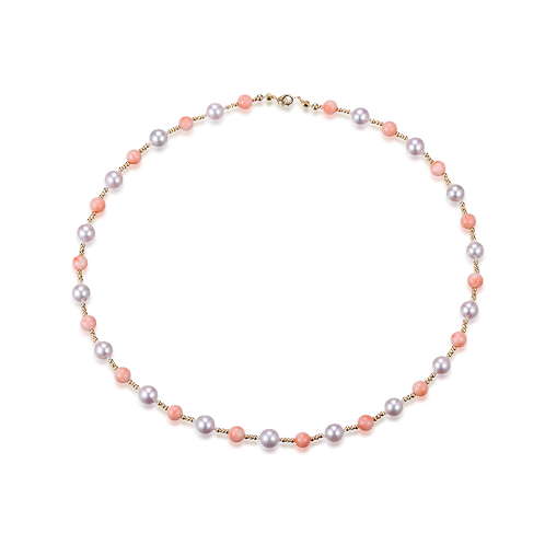 Duo Love of Coral Necklace - 18kt Yellow Gold Akoya Pearl