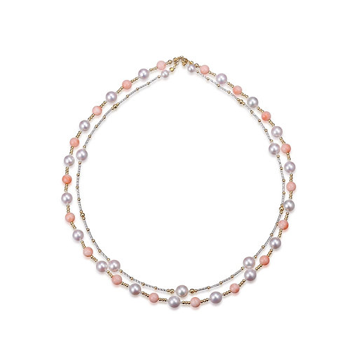 Love of Coral Complex Necklace - 18kt White Gold Akoya Pearl