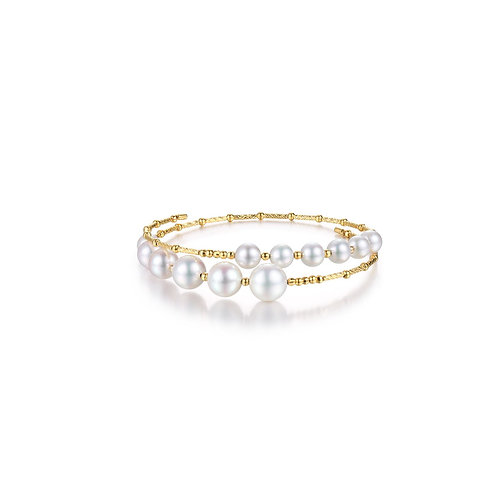 Sweetie Double Bangle - 18kt Yellow Gold Akoya Pearl